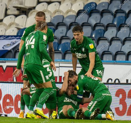 Preston team celebrate the winning goal from Alan Browne (8) of Preston North End in 53rd minute; 24th October 2020 The John Smiths Stadium, Huddersfield, Yorkshire, England; English Football League Championship Football, Huddersfield Town versus Preston North End.
