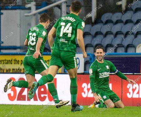 Alan Browne (8) of Preston North End celebrates scoring the winning goal; 24th October 2020 The John Smiths Stadium, Huddersfield, Yorkshire, England; English Football League Championship Football, Huddersfield Town versus Preston North End.