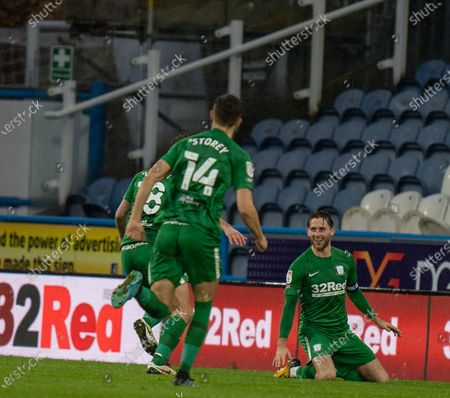 Alan Browne of Preston North End celebrates his second goal for 1-2 in the 53rd minute; 24th October 2020 The John Smiths Stadium, Huddersfield, Yorkshire, England; English Football League Championship Football, Huddersfield Town versus Preston North End.