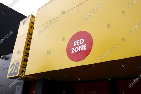 Red Zone entrance sign outside the Sir Elton John Stand for match officials; Vicarage Road, Watford, Hertfordshire, England; English Football League Championship Football, Watford versus AFC Bournemouth.