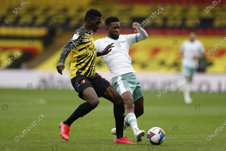 Nathaniel Chalobah of Watford challenges Jefferson Lerma of Bournemouth; Vicarage Road, Watford, Hertfordshire, England; English Football League Championship Football, Watford versus AFC Bournemouth.