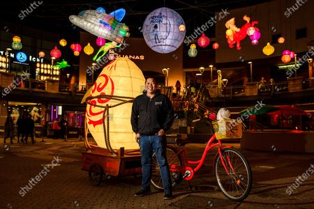 James Wong, Community Leader, Restaurateur and Chair of Birmingham's Chinese Festival Committee, at the unveiling of Netflix's the Over the Moon Lantern installation in Birmingham Chinatown, which coincides with the global debut of new film Over the Moon today. The stunning display of large lanterns depicting characters from the new animation, and inspired by the Mid-Autumn Festival folklore, includes Jade Rabbit, Chang'e the Moon Goddess and Fei Fei's Rocket. The Over the Moon Lantern installation is live until at least November 15th, with local businesses in the area celebrating with themed initiatives.