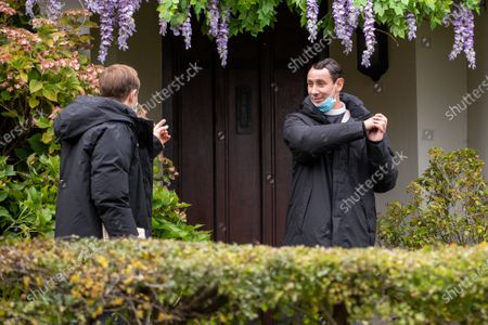 Al Weaver (right) and Oliver Dimsdale filming the ITV drama Grantchester in the village of Grantchester near Cambridge on Friday morning. TV heartthrob Tom Brittney was seen wearing a leather jacket and riding a motorbike as he filmed the latest series of ITVÕs Grantchester yesterday (Thurs).The actor, who plays Reverend Will Davenport, was spotted whizzing around the streets of picturesque Grantchester in Cambridgeshire on his bike.He was later seen talking to The Think Of It actress Rebecca Front, who is one of a number of guest stars in this series of the 1950s show.Brittney was seen sheltering under a large umbrella in between takes, whilst Rebecca, who was dressed in a smart winter coat and hat, appeared to be practising her lines.