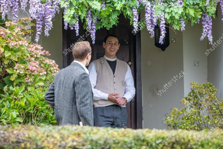 Stock Picture of Al Weaver (right) and Oliver Dimsdale filming the ITV drama Grantchester in the village of Grantchester near Cambridge on Friday morning. TV heartthrob Tom Brittney was seen wearing a leather jacket and riding a motorbike as he filmed the latest series of ITVÕs Grantchester yesterday (Thurs).The actor, who plays Reverend Will Davenport, was spotted whizzing around the streets of picturesque Grantchester in Cambridgeshire on his bike.He was later seen talking to The Think Of It actress Rebecca Front, who is one of a number of guest stars in this series of the 1950s show.Brittney was seen sheltering under a large umbrella in between takes, whilst Rebecca, who was dressed in a smart winter coat and hat, appeared to be practising her lines.