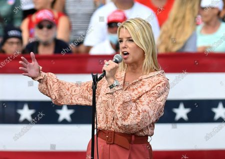 Pam Bondi, former Florida Attorney General, addresses the crowd before U.S. President Donald Trump arrives for a campaign rally at The Villages Polo Club.