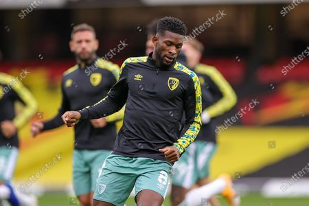 Bournemouth midfielder Jefferson Lerma (8) warms up during the EFL Sky Bet Championship match between Watford and Bournemouth at Vicarage Road, Watford