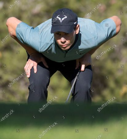 Spanish tennis player Rafael Nadal competes in the Balearic Golf Championship at Maioris golf club in Llucmajor, Majorca island, eastern Spain, 24 October 2020.