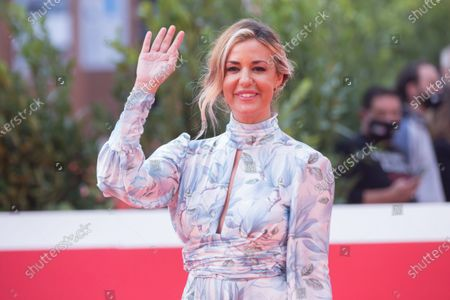 "Stock Photo of Alessia Fabiani attends the red carpet of the tv series ""Romulus"" during the 15th Rome Film Festival on October 23, 2020 in Rome"