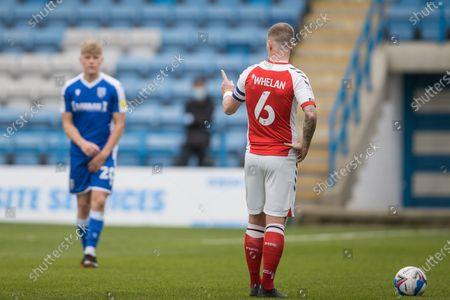 Glenn Whelan, Captain & Midfielder with Fleetwood Town FC (6) talking and giving instruction to Scott Robinson, Midfielder with Gillingham (20) before a free kick during the EFL Sky Bet League 1 match between Gillingham and Fleetwood Town at the MEMS Priestfield Stadium, Gillingham