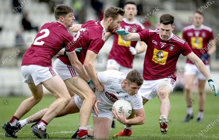 Kildare vs Westmeath. Kildare's Shea Ryan under pressure from Jack Smith, Kevin Maguire and James Dolan of Westmeath