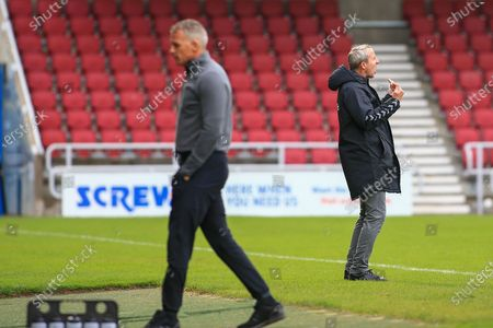 Charlton Athletic manager Lee Bowyer gestures during the EFL Sky Bet League 1 match between Northampton Town and Charlton Athletic at the PTS Academy Stadium, Northampton