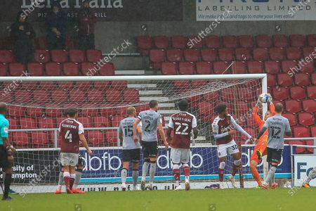 Charlton Athletic goalkeeper Ben Amos  collects the ball during the EFL Sky Bet League 1 match between Northampton Town and Charlton Athletic at the PTS Academy Stadium, Northampton