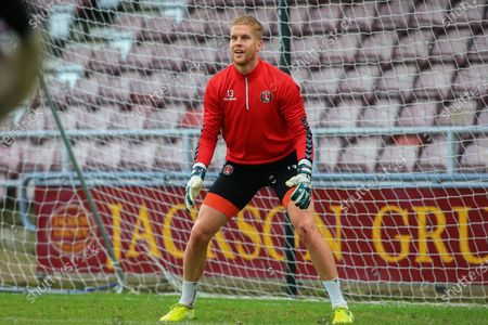 Ben Amos (13) of Charlton Athletic warming up during the EFL Sky Bet League 1 match between Northampton Town and Charlton Athletic at the PTS Academy Stadium, Northampton