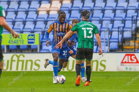 Daniel Udoh of Shrewsbury Town during the EFL Sky Bet League 1 match between Shrewsbury Town and Rochdale at Greenhous Meadow, Shrewsbury