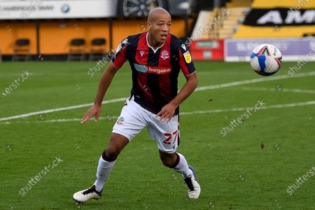 Bolton Wanderers defender Alex Baptiste (27) on defensive duties during the EFL Sky Bet League 2 match between Cambridge United and Bolton Wanderers at the Cambs Glass Stadium, Cambridge