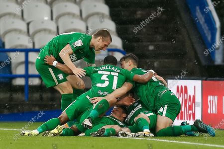 GOAL. (1-2) Preston North End FC Midfielder Alan Browne (8) scores his second goal for Preston North End FC and celebrates with his team mates during the EFL Sky Bet Championship match between Huddersfield Town and Preston North End at the John Smiths Stadium, Huddersfield