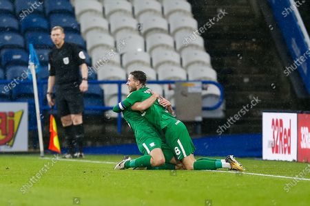 GOAL. (1-2) Preston North End FC Midfielder Alan Browne (8) scores his second goal for Preston North End FC and celebrates with Preston North End FC Midfielder Ryan Ledson (18) during the EFL Sky Bet Championship match between Huddersfield Town and Preston North End at the John Smiths Stadium, Huddersfield