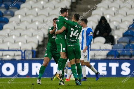 GOAL. (1-1) Preston North End FC Midfielder Alan Browne (8) scores for Preston North End FC and celebrates with his team mates during the EFL Sky Bet Championship match between Huddersfield Town and Preston North End at the John Smiths Stadium, Huddersfield