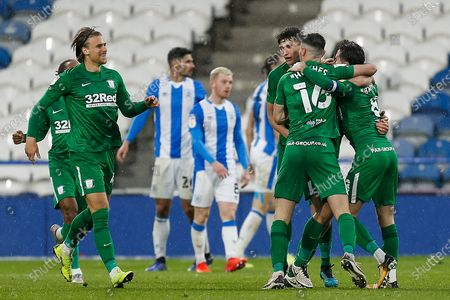 GOAL. (1-1) Preston North End FC Midfielder Alan Browne (8) scores for Preston North End FC and celebrates with his team mate during the EFL Sky Bet Championship match between Huddersfield Town and Preston North End at the John Smiths Stadium, Huddersfield