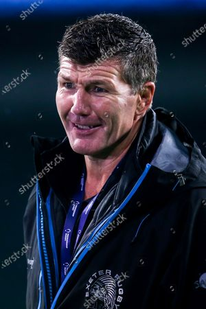 Exeter Chiefs director of rugby Rob Baxter celebrates becoming champions of the 2019/20 Gallagher Premiership after beating Wasps in the Final