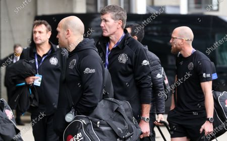 Exeter team arrivals  - Exeter's Director of Rugby Rob Baxter (centre)
