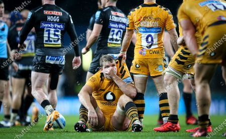 Exeter Chiefs vs Wasps. Wasps' Joe Launchbury dejected after the game
