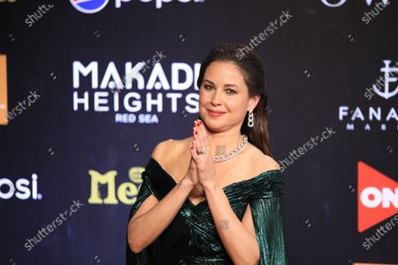 Stock Photo of Lebanese TV presenter Raya Abirached poses on the red carpet at El-Gouna Film Festival (GFF), at the Red Sea resort of El-Gouna, Egypt, 23 October 2020 (issued 24 October 2020). The fourth edition of GFF will take place from 23 to 31 October.