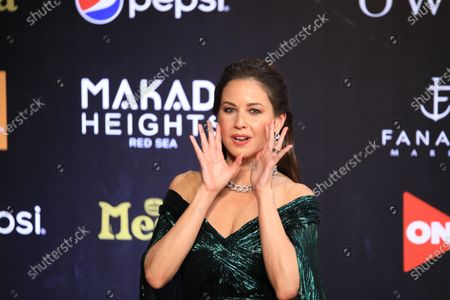 Lebanese TV presenter Raya Abirached poses on the red carpet at El-Gouna Film Festival (GFF), at the Red Sea resort of El-Gouna, Egypt, 23 October 2020 (issued 24 October 2020). The fourth edition of GFF will take place from 23 to 31 October.