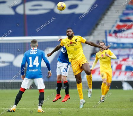 Jay Emmanuel-Thomas of Livingston  during the Scottish Premiership match between Rangers & Livingston at Ibrox Stadium, Glasgow on 25 Oct 2020