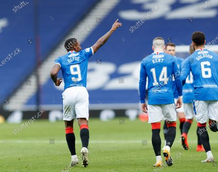 Jermain Defoe of Rangers celebrates scoring to give Rangers a 2-0 lead during the Scottish Premiership match between Rangers & Livingston at Ibrox Stadium, Glasgow on 25 Oct 2020