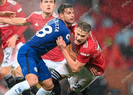 Chelsea's Cesar Azpilicueta (C) in action against Manchester United's Scott McTominay (R) during the English Premier League soccer match between Manchester United and Chelsea FC in Manchester, Britain, 24 October 2020.
