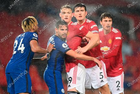 Chelsea's Cesar Azpilicueta (2-L) in action against Manchester United's Scott McTominay (C) during the English Premier League soccer match between Manchester United and Chelsea FC in Manchester, Britain, 24 October 2020.