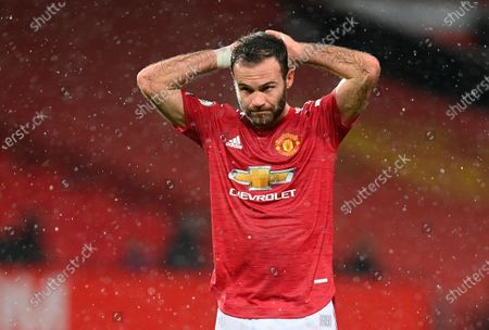 Manchester United's Juan Mata reacts during the English Premier League soccer match between Manchester United and Chelsea FC in Manchester, Britain, 24 October 2020.