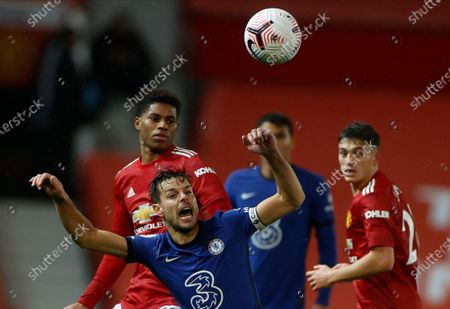 Chelsea's Cesar Azpilicueta (front) in action against Manchester United players Marcus Rashford (L) and Daniel James (R) during the English Premier League soccer match between Manchester United and Chelsea FC in Manchester, Britain, 24 October 2020.