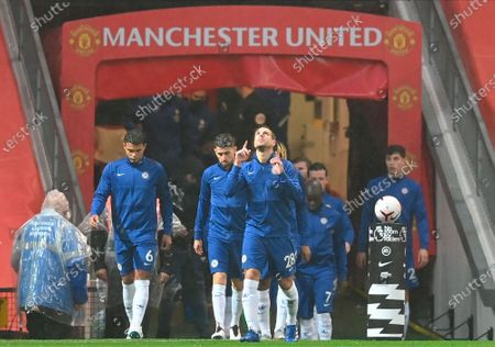 Chelsea's Cesar Azpilicueta (C) and teammates enter the pitch for the English Premier League soccer match between Manchester United and Chelsea FC in Manchester, Britain, 24 October 2020.
