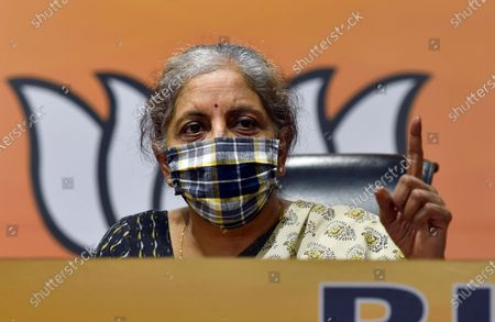 Union Finance Minister Nirmala Sitharaman addresses a press conference at BJP Headquarters, on October 24, 2020 in New Delhi, India. Nirmala Sitharaman said rape and crimes against women cannot be linked to politics. She questioned whether Congress leaders Rahul Gandhi and Priyanka Gandhi Vadra, who visited the family of the 19-year-old Dalit woman allegedly raped and murdered in BJP-ruled Uttar Pradesh's Hathras to seek justice for her, will do so for the girl in Punjab, where the Congress is in power.