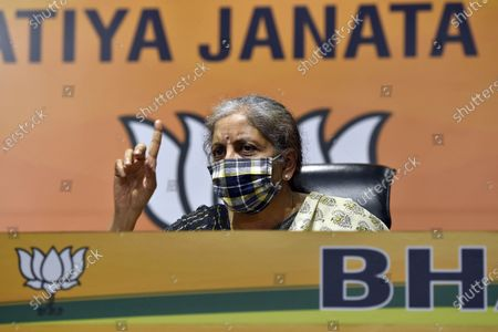 Editorial photo of Press Conference Of Union Finance Minister Nirmala Sitharaman At BJP Headquarters, New Delhi, Delhi, India - 24 Oct 2020