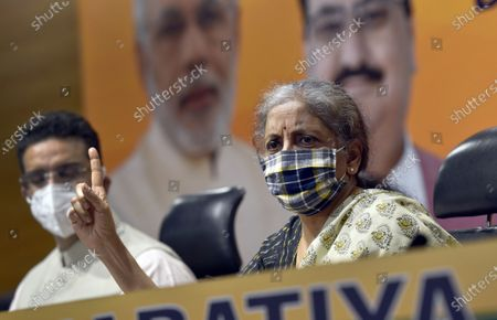 Editorial picture of Press Conference Of Union Finance Minister Nirmala Sitharaman At BJP Headquarters, New Delhi, Delhi, India - 24 Oct 2020