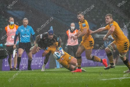 Jack Nowell of Exeter is tackled  during the Gallagher Premiership Rugby match between Exeter Chiefs and Wasps at Twickenham, Richmond