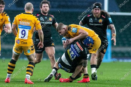 Exeters Jack Nowell puts in a tackle  during the Gallagher Premiership Rugby match between Exeter Chiefs and Wasps at Twickenham, Richmond
