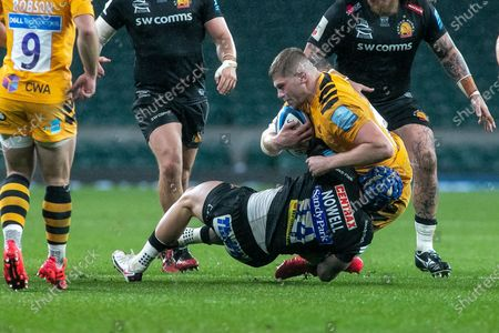 Jack Nowell of Exeter tackle Jack Willis of Wasps during the Gallagher Premiership Rugby match between Exeter Chiefs and Wasps at Twickenham, Richmond