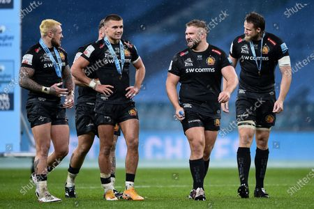 Jack Nowell of Exeter Chiefs, Henry Slade of Exeter Chiefs, Tomas Francis of Exeter Chiefs and Jonny Hill of Exeter Chiefs after the final whistle of the match