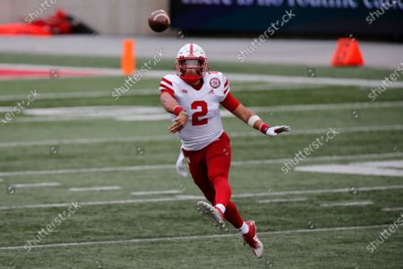 Nebraska quarterback Adrian Martinez throws a pass against Ohio State during the second half of an NCAA college football game, in Columbus, Ohio. Ohio State defeated Nebraska 52-17