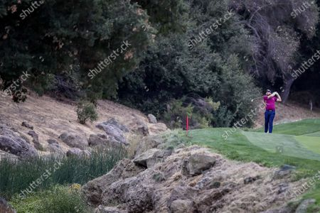 Tyrrell Hatton of England plays from the ninth fairway during the third round of the Zozo Championship PGA Tour golf tournament at the Sherwood Country Club in Thousand Oaks, California, USA, 24 October 2020.
