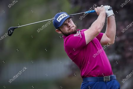 Tyrrell Hatton of England plays his shot from the first tee during the third round of the Zozo Championship PGA Tour golf tournament at the Sherwood Country Club in Thousand Oaks, California, USA, 24 October 2020.