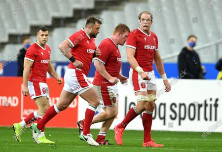 Gareth Davies, Sam Parry, Rhys Carre and Alun Wyn Jones of Wales.