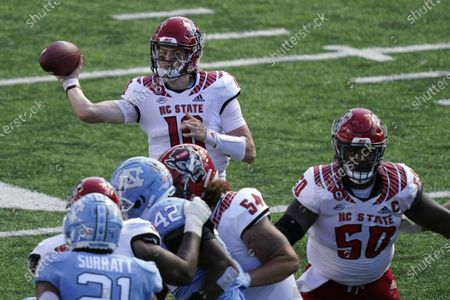 North Carolina State quarterback Ben Finley (10) passes against North Carolina during the first half of an NCAA college football game in Chapel Hill, N.C
