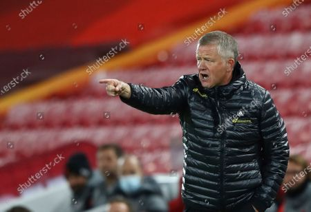 Sheffield United's manager Chris Wilder gestures to his players during the English Premier League soccer match between Liverpool and Sheffield United at Anfield in Liverpool, England