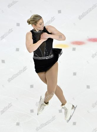 Stock Picture of Gracie Gold of the United States competes during women's freestyle program in the International Skating Union Grand Prix of Figure Skating Series, in Las Vegas