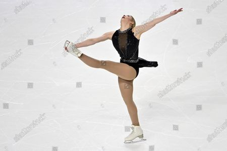 Stock Image of Gracie Gold of the United States competes during women's freestyle program in the International Skating Union Grand Prix of Figure Skating Series, in Las Vegas